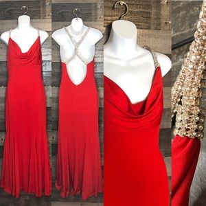 Camille La Vie Red Cowl Neck Rope Dress